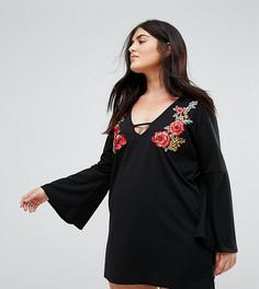 Платье-туника с цветочной вышивкой Praslin - Черный
