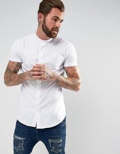 Белая обтягивающая рубашка с трикотажными рукавами SikSilk - Белый