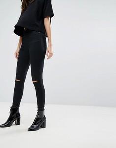 Супероблегающие джинсы с разрезами на коленях Weekday - Черный