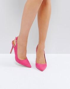 Туфли-лодочки на каблуке с открытой пяткой River Island - Розовый