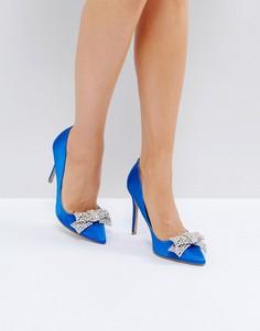 Атласные остроносые туфли-лодочки с декорированным бантом River Island - Синий
