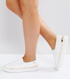 Кроссовки-слипоны из искусственной кожи для широкой стопы River Island - Белый