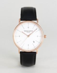 Часы с коричневым кожаным ремешком Simon Carter WT2201 - Черный