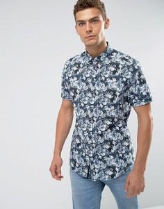 Синяя приталенная рубашка с цветочным принтом River Island - Синий