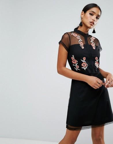 Платье с вышивкой River Island - Черный