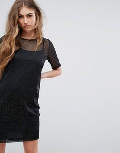 Платье-футболка с блестками River Island - Черный
