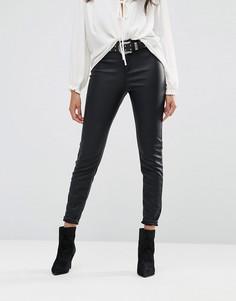 Облегающие брюки из искусственной кожи River Island - Черный