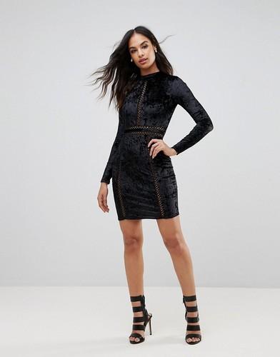 Платье мини с длинными рукавами Club L - Черный