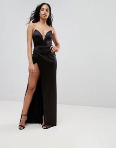 Платье-бандо макси с разрезом и глубоким вырезом Club L - Черный