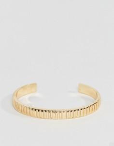 Золотистый браслет-манжета в рубчик Chained & Able - Золотой