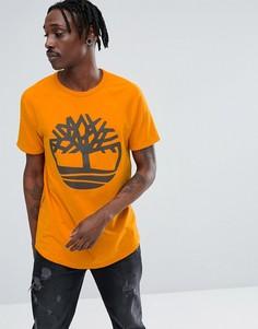 Оранжевая оверсайз-футболка с рукавами реглан и логотипом Timberland - Оранжевый