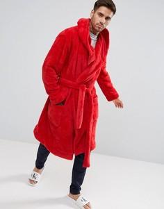 Халат из флиса с капюшоном ASOS - Красный