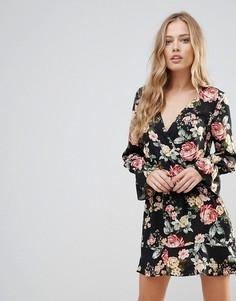 Платье с длинными рукавами и цветочным принтом Oh My Love - Мульти
