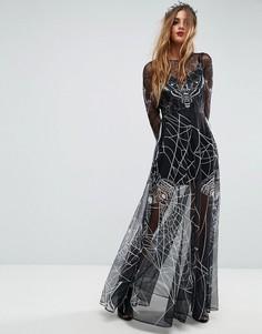 Платье макси с принтом в стиле Хэллоуина ASOS - Мульти