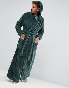 Длинный флисовый халат с капюшоном ASOS - Зеленый