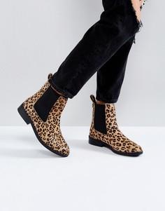 Ботинки челси с отделкой под ворс пони и леопардовым принтом River Island - Мульти