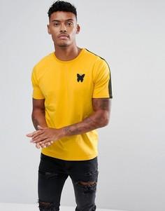 Желтая обтягивающая футболка с полосками на рукавах Good For Nothing - Желтый