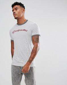 Обтягивающая футболка с полосками и логотипом Good For Nothing - Белый