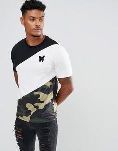 Обтягивающая футболка с камуфляжными вставками Good For Nothing - Черный