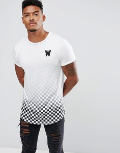 Белая обтягивающая футболка с принтом в шахматную клетку с эффектом деграде Good For Nothing - Белый