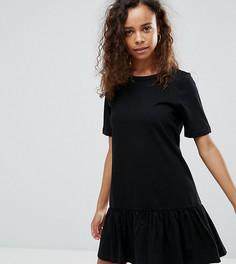 Платье-футболка мини с асимметричным краем ASOS PETITE - Черный