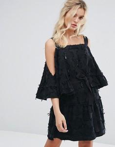 Фактурное платье мини с кисточками и бисером Stevie May - Черный
