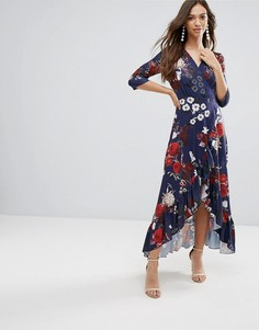 Платье макси с запахом и оборкой QED London - Темно-синий