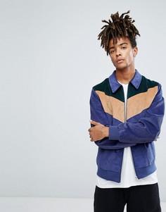 Вельветовая куртка Харрингтон с шевронным узором ASOS - Темно-синий