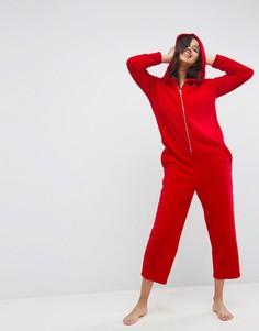 Флисовый комбинезон с капюшоном ASOS - Красный