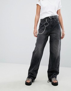 Широкие джинсы в стиле 90-х с цепочкой Cheap Monday - Черный