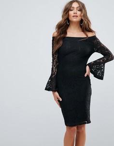 Кружевное платье с открытыми плечами Girl In Mind - Черный