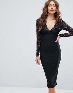 Платье миди с кружевными длинными рукавами Girl In Mind - Черный