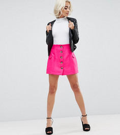 Мини-юбка с завышенной талией и пуговицами ASOS PETITE - Розовый