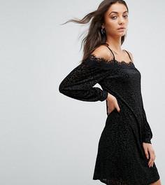 Платье с открытыми плечами и кружевом Fashion Union Tall - Мульти