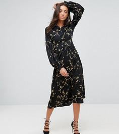 Платье миди с цветочным принтом Fashion Union Tall - Черный