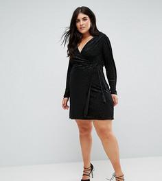 Бархатное платье с запахом и леопардовым рисунком Fashion Union Plus - Мульти