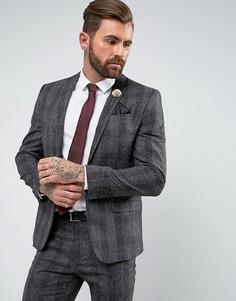Серый меланжевый приталенный пиджак в клетку River Island - Серый