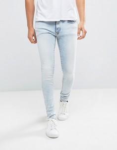 Супероблегающие джинсы с эффектом кислотной стирки River Island - Синий