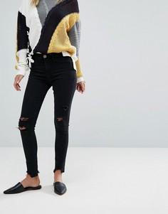 Зауженные джинсы с бахромой River Island - Черный