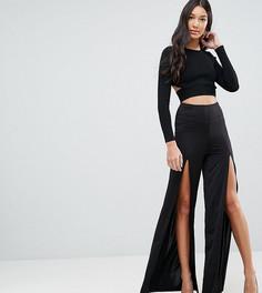 Широкие брюки с разрезами ASOS TALL - Черный