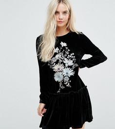 Бархатное свободное платье с длинными рукавами и цветочной вышивкой Glamorous Petite - Черный