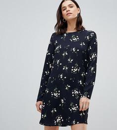 Свободное платье с длинным рукавом и цветочным принтом Glamorous - Черный