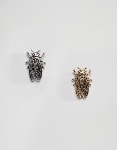 Серьги-гвоздики в виде жуков Monki - Серебряный