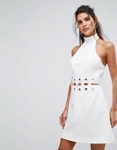 Платье мини с решетчатой отделкой Finders Keepers Unbelievers - Кремовый