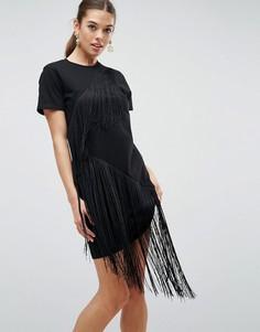 Платье-футболка мини с бахромой ASOS - Черный