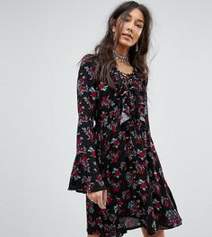 Чайное платье с винтажным принтом роз и оборками Kiss The Sky Tall - Черный