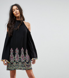 Свободное платье с высоким воротом и вышивкой Kiss The Sky Tall - Черный