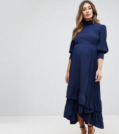 Платье макси с оборками GeBe Maternity - Темно-синий