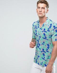 Зеленая рубашка с отложным воротником и принтом пальм River Island - Зеленый
