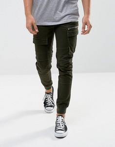 Зауженные брюки-карго цвета хаки River Island - Зеленый